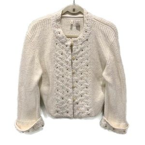 MOTH Anthropologie Beaded Cropped Knit Cardigan S